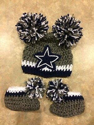 Crochet Newborn 3 Month Dallas Cowboys Hat Booties Photo Prop