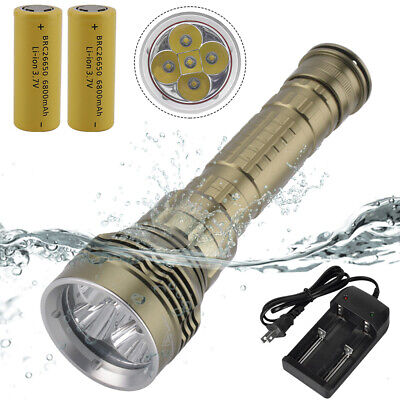 40000LM 5X XM-L2 LED Scuba Tauchlampe Taschenlampe Flashlight Fackel 2x26650