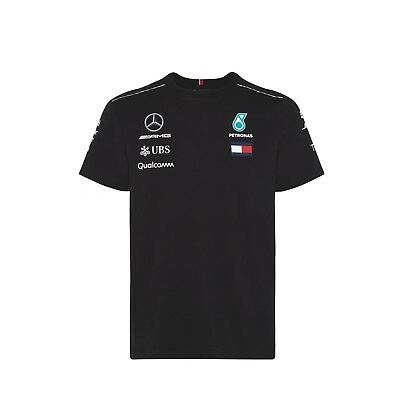2018 OFFICIAL F1 Mercedes AMG Petronas MENS Team T-shirt Tee Black Hilfiger NEW