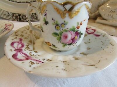 Antique French PAIR of hand painted coffee cups and saucers in old porcelain