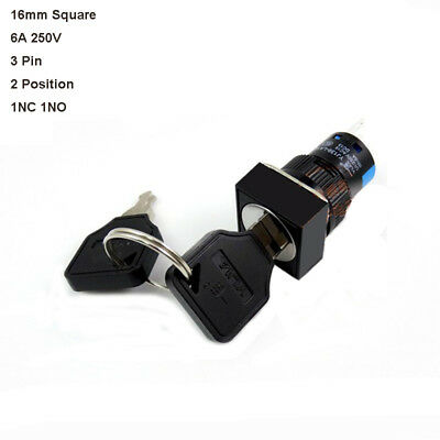 16mm Square 6A 250V On/Off Security Key Switch Lock 3 Pin 2 Position 1NC 1NO