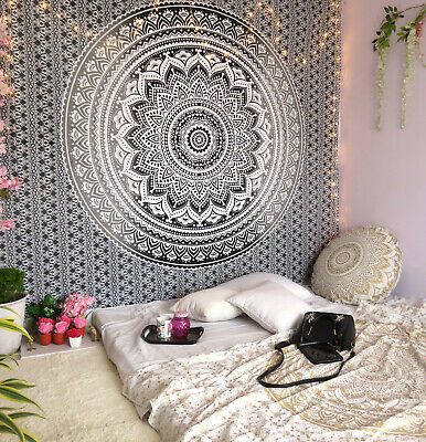 Black White Ombre Mandala Tapestry Indian WallHanging Decor Queen Bedspread Boho