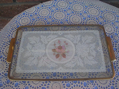 Vintage Dressing Table Vanity Tray Lace & Embroidered Doily Inset In Glass