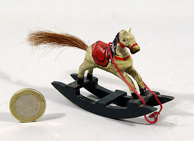 MINI CHEVAL A BASCULE EN BOIS PEINT, queue en crins, 8cm