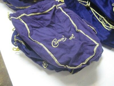 Lot of (25) Crown Royal Purple 375 ml  Cotton Felt Drawstring Bags -