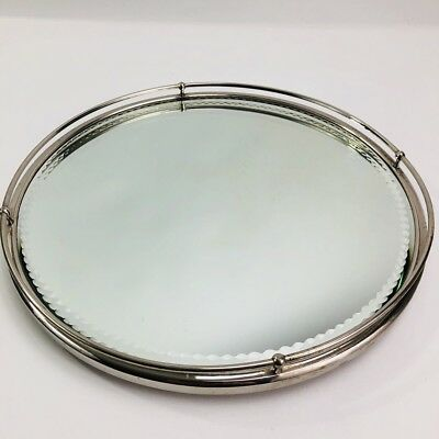 Vtg Round Mirrored Perfume Vanity Tray 40s Art Deco Beveled Etched 12