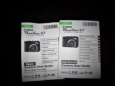 Canon Powershot G7 Digital Camera Advanced & Basic User Guide Instruction Manual