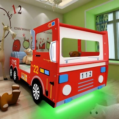 Childrens RGB LED Fire Truck Engine Design Red Bed Frame Kids Toddlers 200x90cm
