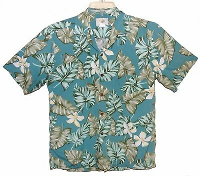 58b7eaf0 Sz M HO ALOHA Hawaiian Shirt Rayon Tropical Floral Light Green & Tan Made  in USA