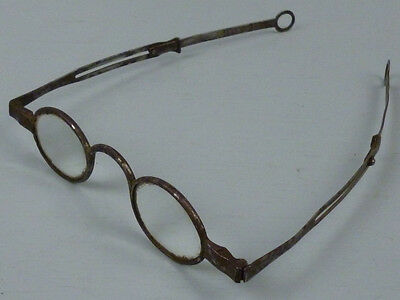 Antique 18c/19c Steel Frame Spectacles or Glasses w Hoop Ear Slides Georgian VR