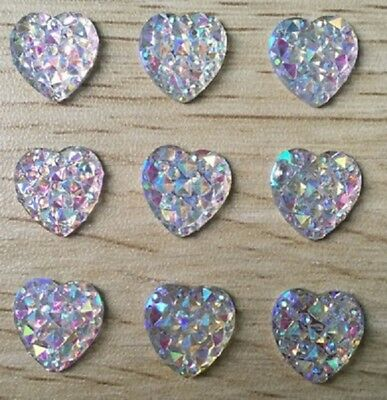 Heart Shape Colourful Bling Charms Faced Flat Back Resin Beads DIY 12mm UK