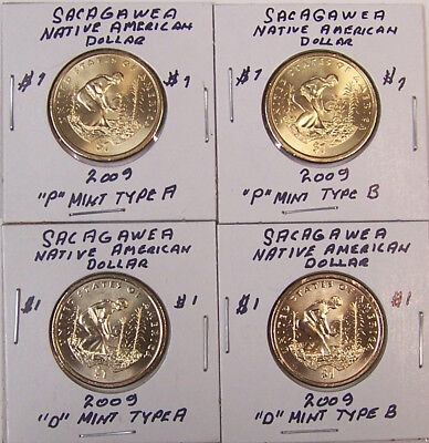 Sacagawea 2009-2019 Uncir Native American Dollar Set of 44 - P & D - TYPE A & B