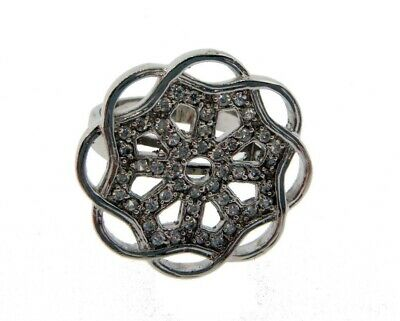 CZ flower ring size 7 in 925 sterling silver