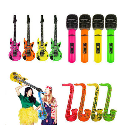 4/100PCS Inflatable Blow Up Microphone/Guitar Kids Children Home Holiday Party