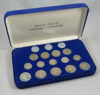 1941-1945 World War II 2 WWII 17 Coin Set Cent Silver Dime Quarter Nickel CB418