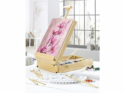 PINEWOOD CARRY CASE INTIGRATED TABLETOP EASEL 51 set ACCESSORIES  Artist Art