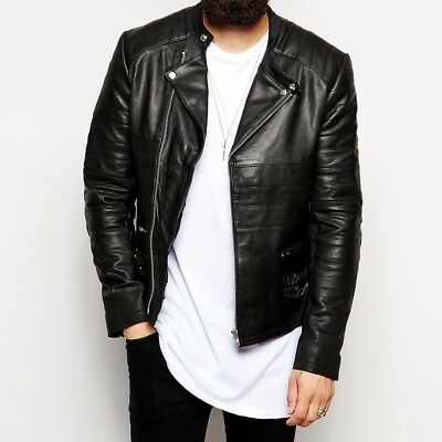 Mens-Retro-Style-Zipped-Biker-Jacket-Real-Leather-Soft Black Casual