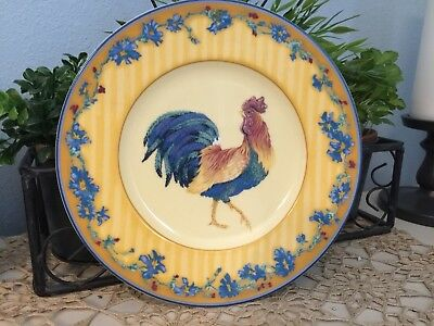 "Fitz & Floyd COQ DU VILLAGE Yellow 9.25"" dinner Plate Rooster"