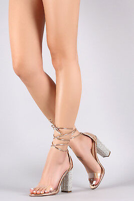 015351f32cfa Clear Strappy Rhinestone Lace Up Transparent Perspex Heels - Rose Gold