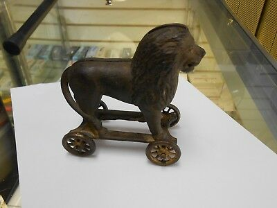 Early Antique Vtg Cast Iron A C Williams Arcade Lion on Wheels Coin Penny Bank