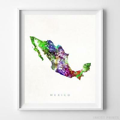 Mexico Watercolor Map Wall Art Home Decor Poster Artwork Gift Print UNFRAMED