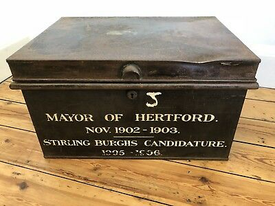 Antique Large Metal Deed Box-Mayor Of Hertford,Decorative Item, WILL BE ON TV!