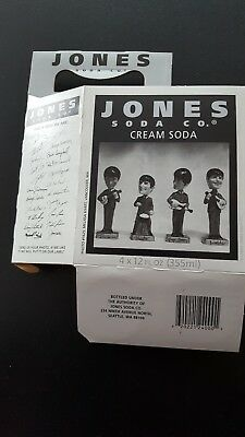 Beatles Statues Pictured On Side Of Jones Soda Four Bottle Carrier