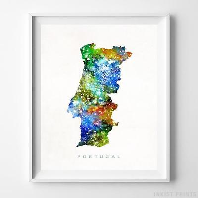 Portugal Watercolor Map Wall Art Home Decor Poster Artwork Gift Print UNFRAMED