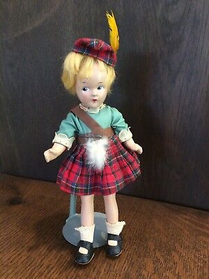 "Vintage Madame Alexander ""Scotch"" Composition Doll, All Original, 9"", 1930s"