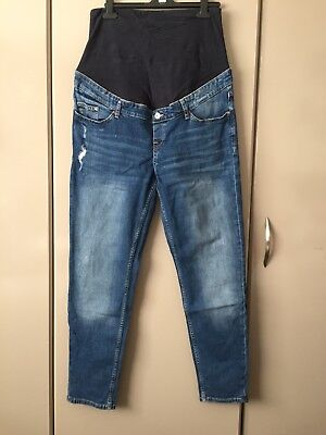 2019 professional pretty nice good texture Womens H&M Maternity MAMA Boyfriend destroyed Blue Jeans - Size 16 (44)