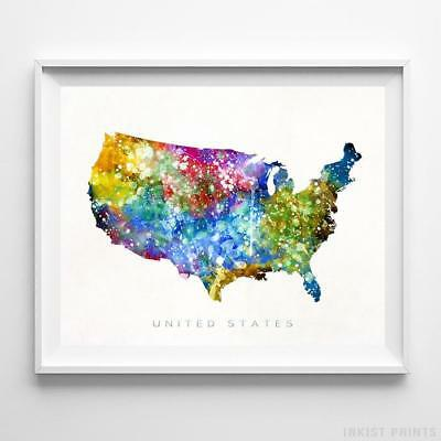 United States Horizontal Watercolor Map Wall Art Poster Gift Print UNFRAMED
