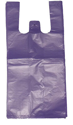 "200 Purple Plastic T-shirt Shopping Bags Handles Retail Grocery 11.5""x6""x21"""