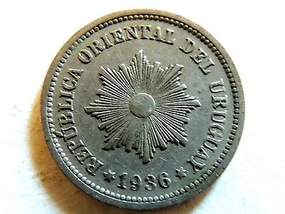 1936-A Uruguay Two (2) Centesimos Coin