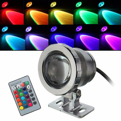 Remote IP67 Waterproof 10W 12V RGB LED Underwater Spot Light Pond Aquarium Lamps