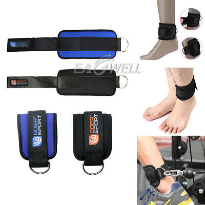 Sports Gym Weight Lifting D Ring Ankle Straps Cable Attachment Strap Exercise