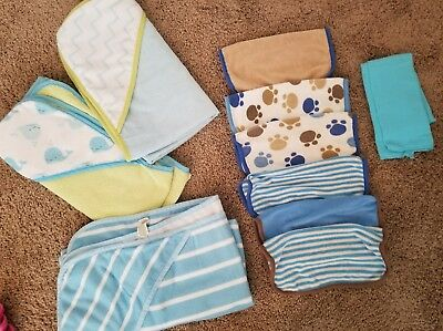 baby hooded towels washcloths burp cloth blue infant