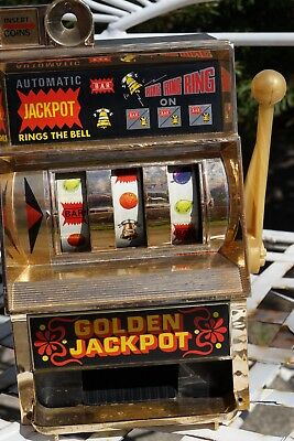 "Vtg Casino Golden Jackpot Slot Machine Bank By Waco 11"" X 7"" Japan Toy RARE"