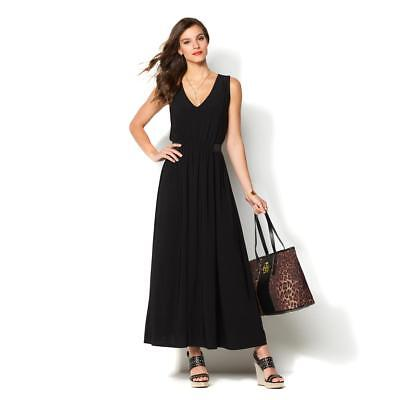 469684b9b9c IMAN Global Chic Luxury Resort Jersey Stretch Maxi Dress Black Large Size  HSN