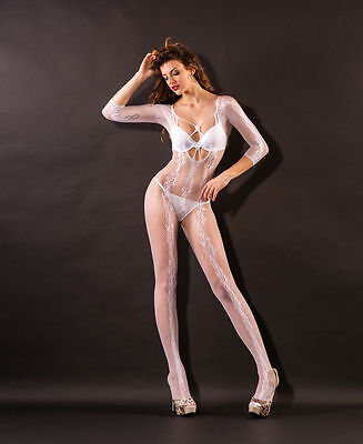 Sexy WHITE Erotic Crotchless Fishnet Bodystocking Stocking Lingerie One Sz