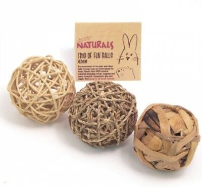 Rosewood Naturals Trio of Fun Balls Rabbit Small Animal Chew Toy Boredom Breaker