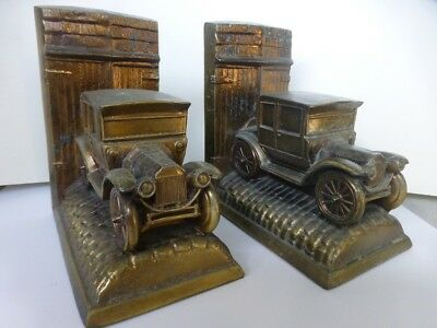 Amazing Antique 1930s Brass/Bronze Marked Ford Model T Car Bookends Set