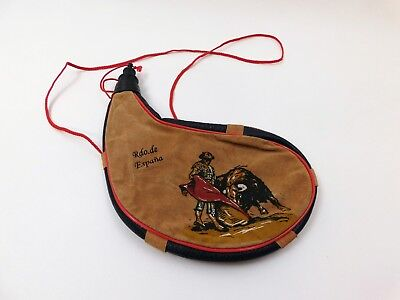 Spain Water Canteen Bolo Bag Drinking Pouch Wine Flask Suede Leather bota