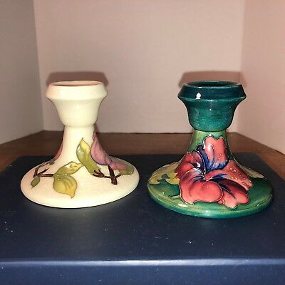Mismatched Moorcroft Candle Stick holders, Made in England