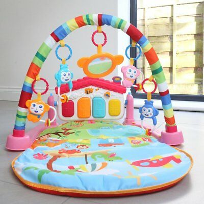 3 in 1 Baby Gym Play Mat Lay & playgym Fitness Music Fun Soft Mat Fitness US