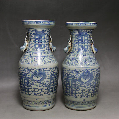 One Pair of Unique Chnese Antique Blue&White Porcelain Vase With Two Xi
