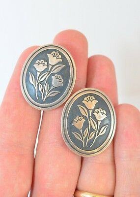 Vintage James Avery Sterling Silver Floral French Clips Pierced Stud Earrings