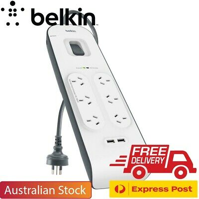 Belkin 6 Way Outlet Surge Protector Power Board with USB Charging x 2