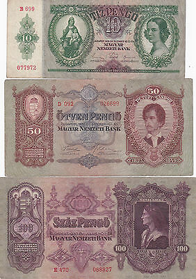 Hungary Set 10, 50 & 100 Pengo Old 1930's Banknotes P98, P99 & P100