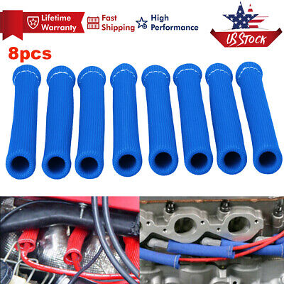 8Pcs High Heat Shield Engine Spark Plug Wire Boots Protector Sleeve Cover Blue
