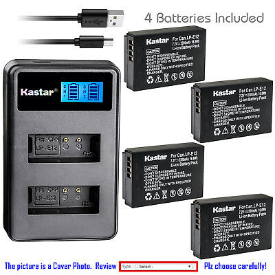 Kastar Battery LCD Dual Charger for Canon LP-E12 LC-E12 & Canon EOS M10 Camera
